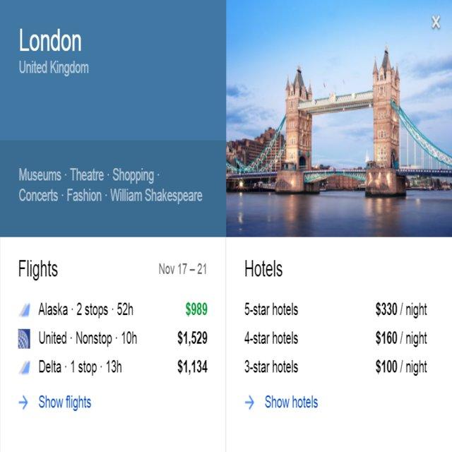 Google Flight to England London UK